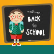 Cartoon school boy vector background. Back to school illustration. — Stock Vector #50950009