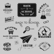 Back to School vector design elements. Retro style and vintage ornaments. Labels, badges, stamps and other designs — Stock Vector #50953219