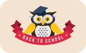 Cartoon school owl vector background. Back to school illustration. — Stock Vector
