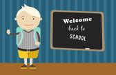 Fondo escuela chico vector de dibujos animados. vuelta a la ilustración de la escuela. — Vector de stock