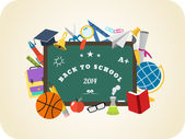 School vector design elements. Back to school flat design hand drawn graphics  — Stock Vector