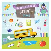 Okul vektör tasarım öğeleri. düz tasarım elle çizilmiş grafik okula dönüş — Stok Vektör