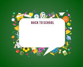 Back to school vector speech bubble background and education icons  — Stock Vector