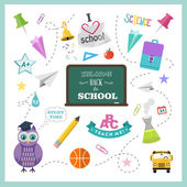 School vector design elements. Back to school flat design hand drawn graphics — Stock Vector