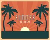 Summer holidays tropical paradise beach retro design vector background  — Stock Vector