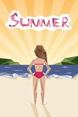 Summer holidays retro poster girl the beach vintage geometric polygonal design vector background  — Stock Vector