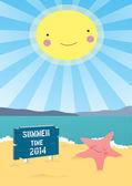 夏レトロ ポスター熱帯の楽園ビーチ フラットなデザインのベクトルの背景 — ストックベクタ