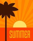 Summer retro poster tropical paradise beach flat design vector background  — Stock Vector