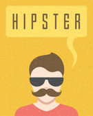 Young hipster man and speech bubble vector background  — Stock Vector