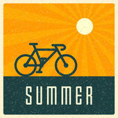 Summer holidays and bicycle on beach retro design vector background  — Stock Vector