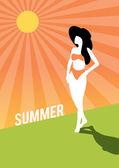 Summer retro poster girl the beach vintage vector background — Stock Vector