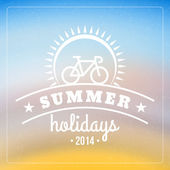Retro summer holidays poster with badge. Vector background — Stock Vector