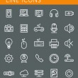 Line icons set. Technology media objects. Vector web design elements — Stock Vector #51371223