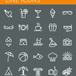 Line icons set. Summer holidays, vacation and travel objects. Vector web design elements — Stock Vector #51371231
