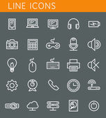Line icons set. Technology media objects. Vector web design elements  — Stock Vector