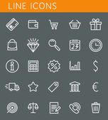 Line icons set. Shopping and sale objects. Vector web design elements  — Stock Vector