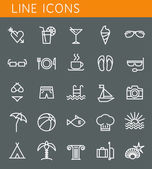 Line icons set. Summer holidays, vacation and travel objects. Vector web design elements  — Stock Vector