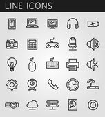 Line icons set. Technology media objects. Vector web design elements  — Stok Vektör