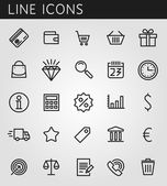 Line icons set. Shopping and sale objects. Vector web design elements  — Vector de stock