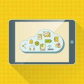 Cloud computing service infographics with icons and device — Stockvector
