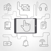 Application and devices infographics with icons — Stock Vector