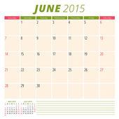 Calendar planner 2015 template week starts sunday — Stok Vektör