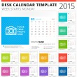 Desk calendar 2015 vector template week starts monday — Stock Vector #51514789
