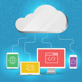 Cloud computing concept background tablet, smartphone, computer — Stock Vector