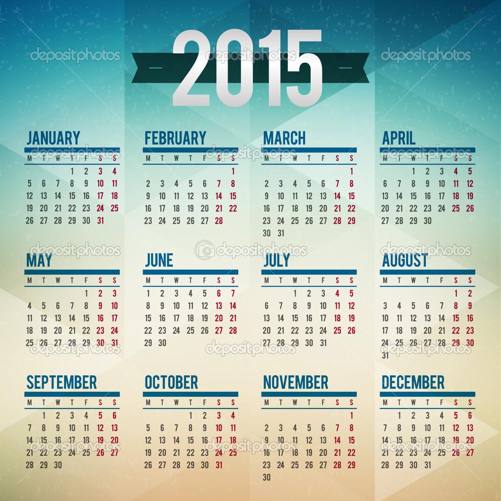 日历2015年矢量模板周星期一开始