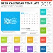 Desk calendar 2015 vector template week starts sunday — Stock Vector #51664347