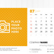 Desk calendar 2015 vector template week starts sunday — Stock Vector #51664365