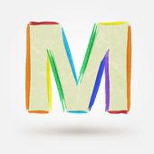 Alphabet letter M. Watercolor vector paint design element  — Stock Vector