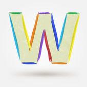 Alphabet letter W. Watercolor vector paint design element  — Stock Vector