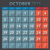 Kalendář planner 2015 šablony první den týdne pondělí — Stock vektor