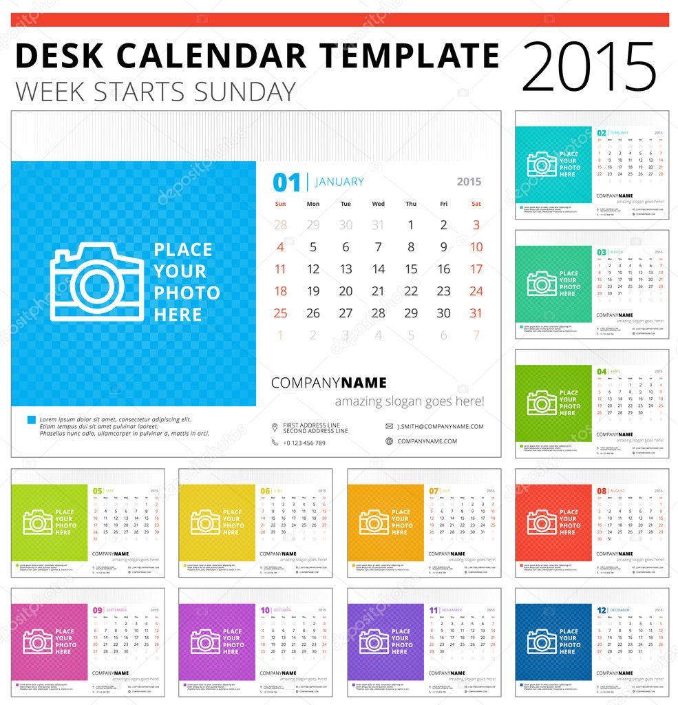 Desk calendar 2015 vector template week starts sunday — Stock Vector © AntartStock #51664347