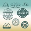 Retro design elements Summer holidays vector set. Vintage ornaments and labels — Vettoriale Stock