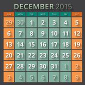 Calendar planner 2015 template week starts sunday — Stock Vector