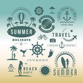 Retro design elements Summer holidays vector set. Vintage ornaments and labels — Stock Vector