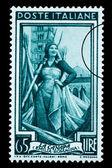 Kobieta w pole konopi znaczek — Zdjęcie stockowe
