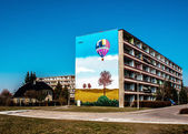 Colored residential building — Stock Photo