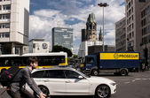 Berlin traffic and Memorial Church — Stock Photo