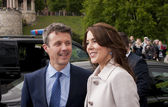 Denmark Prince Frederik and Princess Mary visit Polan — Stock Photo