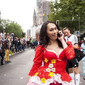 Unidentified woman during Gay pride parade — Stock Photo