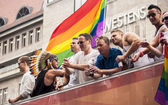 Unidentified participants during Gay pride parade — Stock Photo