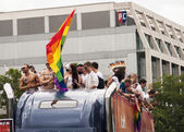 Group unidentified participants during Gay pride parade — Stock Photo