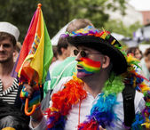 Elaborately dressed man during gay pride parade — Stock Photo
