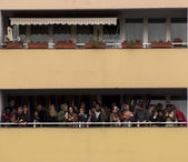 Balcony full of people — Stock Photo