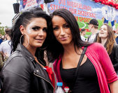 Unidentified beauty womans during Gay pride parade — Stock Photo