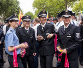German Policewoman's during gay pride parade — Stock Photo