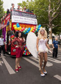 Elaborately dressed participants during gay pride parade — Stock Photo